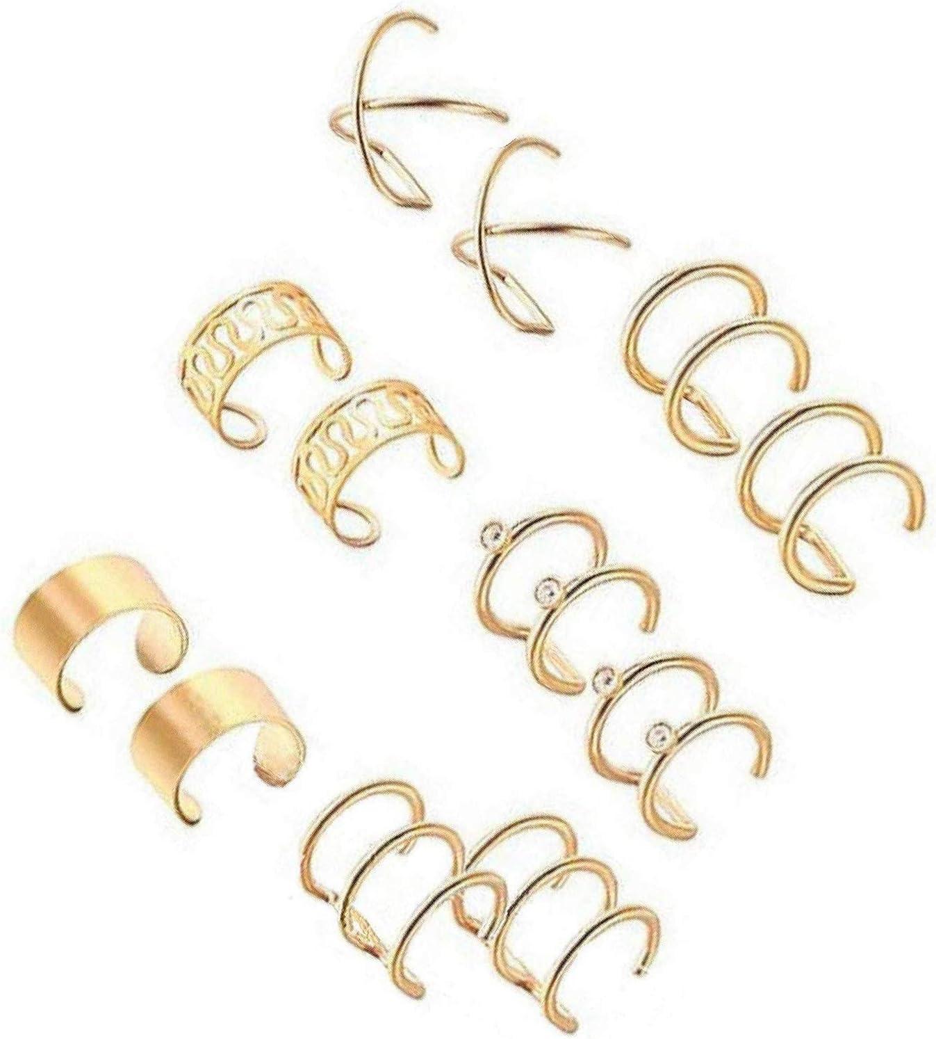 LEEQ 6 Pares de Clips de Oreja de Acero Inoxidable Pendientes no perforantes Aro Puños de Oreja Set de Clips de Oreja de cartílago para Hombres, 6 Estilos Diferentes