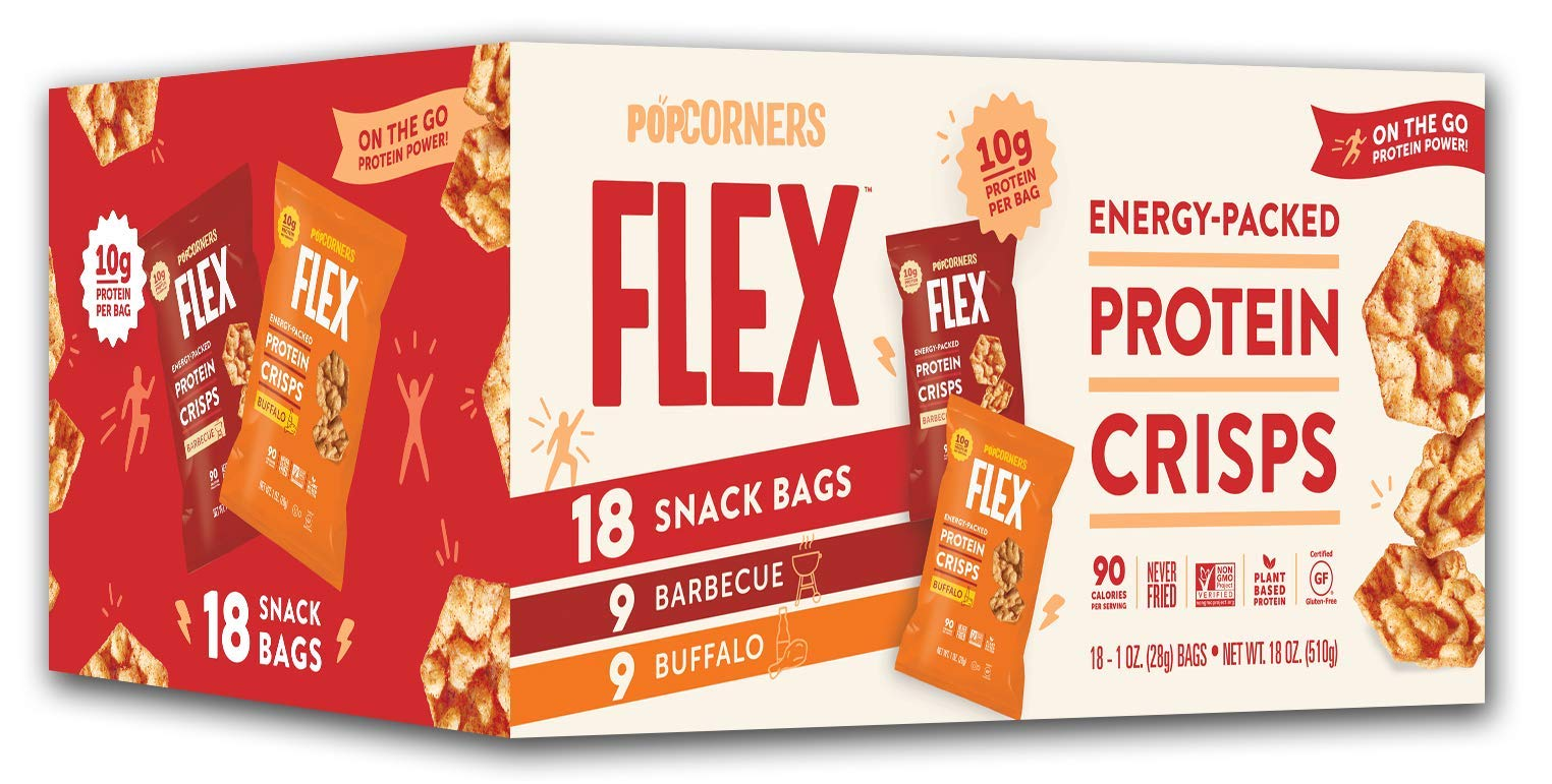 PopCorners Flex Protein Crisps Variety Pack | Plant-Based Protein, Gluten Free Snacks | (18 Pack, 1 oz Snack Bags)
