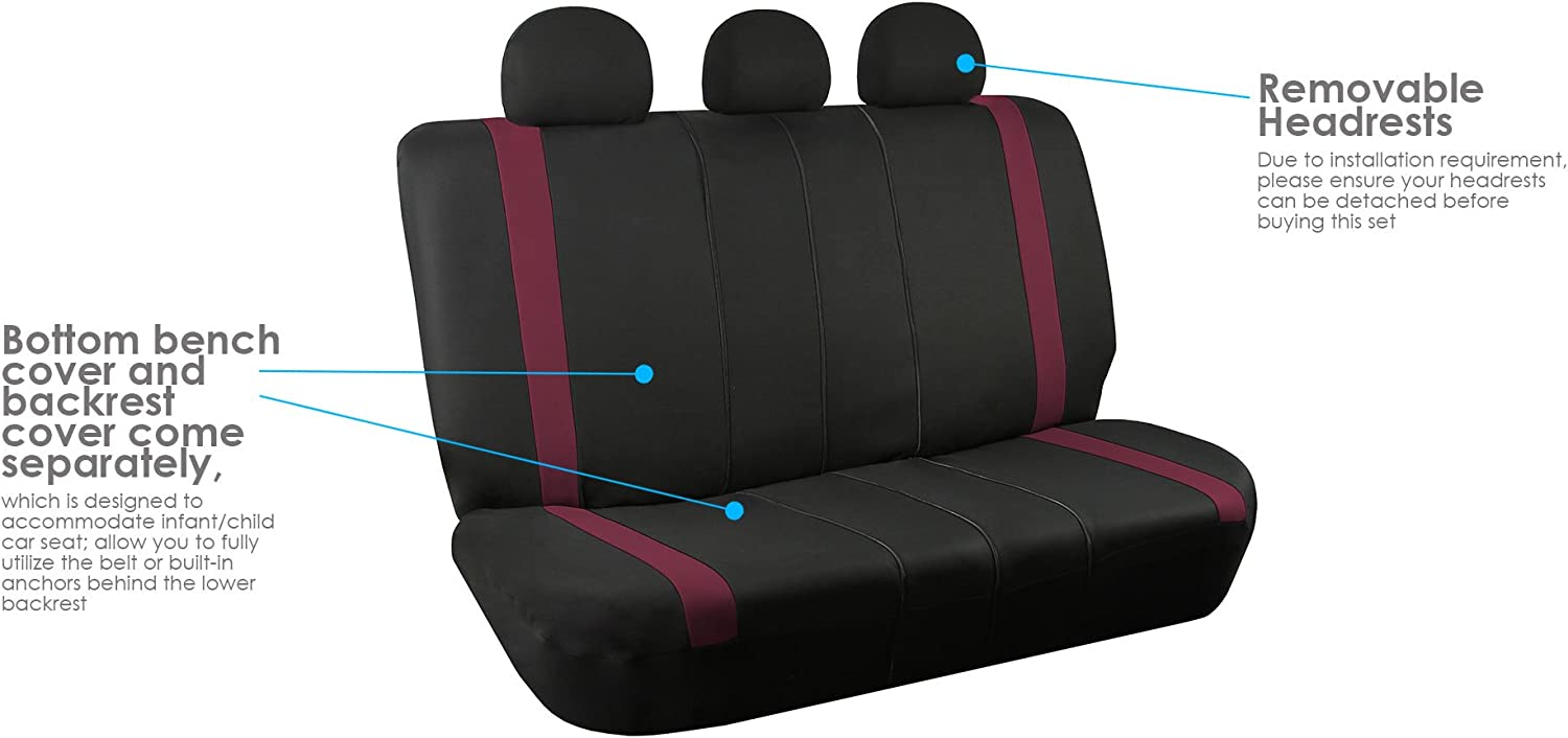 Black Full Set with Gift FH Group FB032115 Unique Flat Cloth Seat Covers Universal Fit for Cars Trucks and SUVs