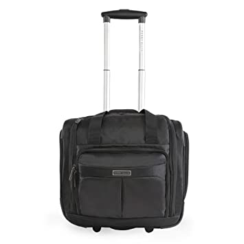 2f44503c5 Amazon.com | Perry Ellis Men's Excess 9-Pocket Underseat Rolling Tote Carry-on  Bag Travel, Black, One Size | Carry-Ons