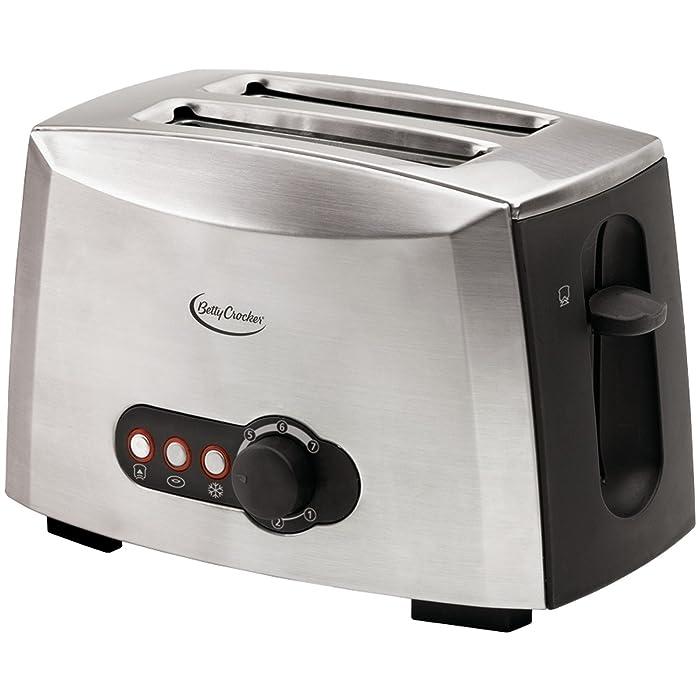 Betty Crocker BC-1618C RA28381 2-Slice Toaster, Brushed Stainless Steel