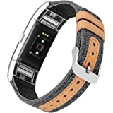 Jobese For Fitbit Charge 2 Bands, Soft Classic Canvas Fabric Straps with Genuine Leather Bands with Metal Connector for Fitbit Charge 2 Fitness Tracker