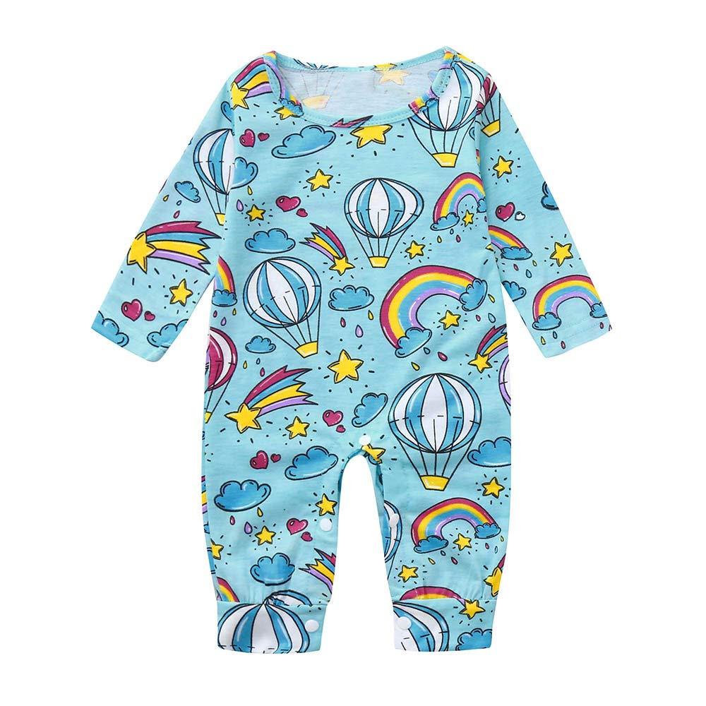 XXYsm Baby Strampler Herbst Winter Mädchen Langarm Overall Jungen Pyjama Jumpsuit Unisex Regenbogen Spielanzug
