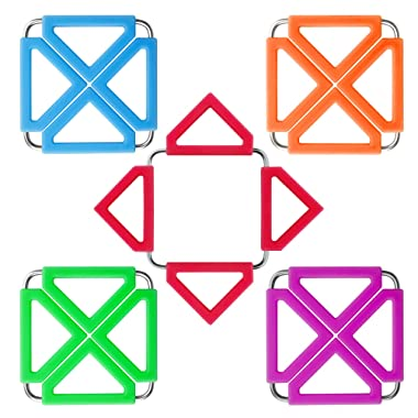 Sumdirect 5Pcs Silicone&Stainless Steel Hot Pot Holder, Trivet Mat for Home Kitchen Heat Resistant, Non-Stick/Non-Slip, Insulated, for Table Pad, Bowl Mats, and Coasters