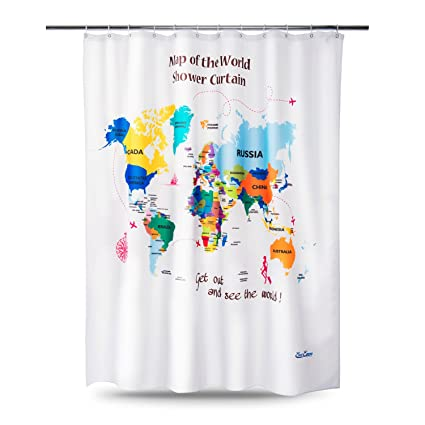 EnaEzen Map Of The World Shower Curtains Mildew Resistant Weighted Educational Fabric