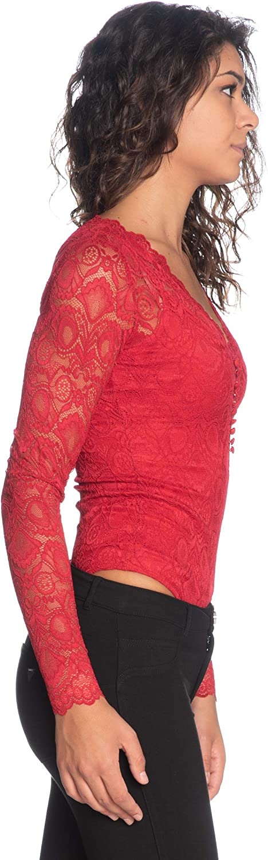 Guess Body in Pizzo M/Lunga Scollo A V Art. W93P73R7EY0 Rosso