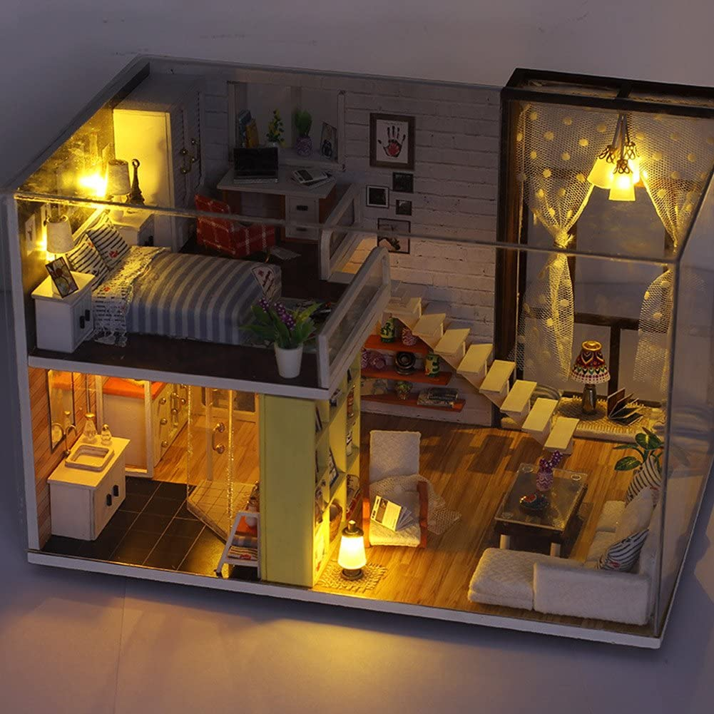 MIFXIN 3D Cozy DIY Wooden Miniature Dollhouse Kits with 5 LED Light Creative Handmade Home Furniture 2 Levels Construction Model for Adults Kids Educational Purposes Gifts Room B