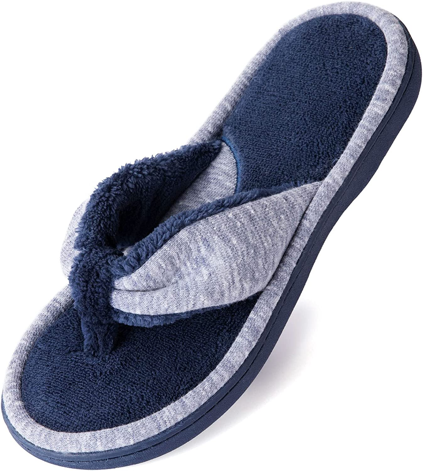 Wishcotton Women's Memory Foam Spa Thong Flip Flops Cozy House Indoor Slippers, Clog Style Lightweight Open Toe House Shoes