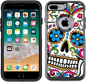 Teleskins Protective Designer Vinyl Skin Decals Compatible with Otterbox Commuter iPhone 7 Plus/iPhone 8 Plus Case - Sugar Skull Dia De Los Muertos Design Pattern - only Skins and not Case