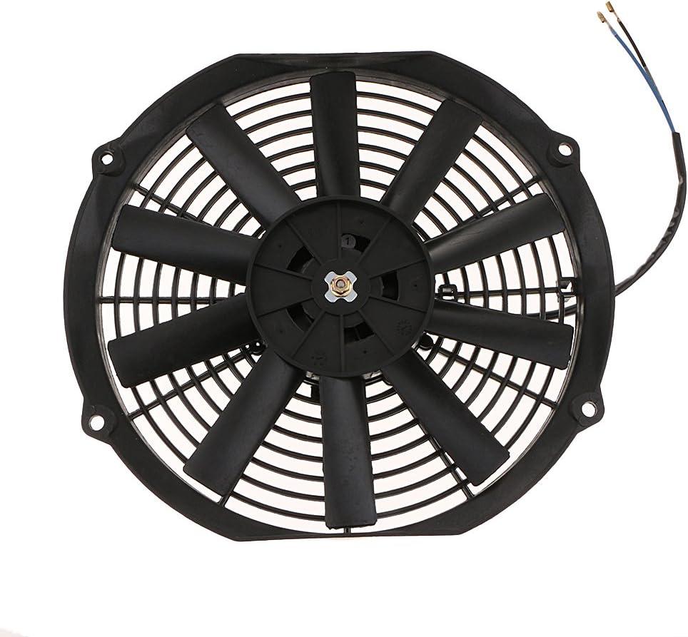 12 Pulgadas Gazechimp 9 Inch-12 Inch Di/ámetro Coche Moto Radiador Ventilador De Refrigeraci/ón Disipaci/ón De Calor 80W 12V Rendimiento Estable