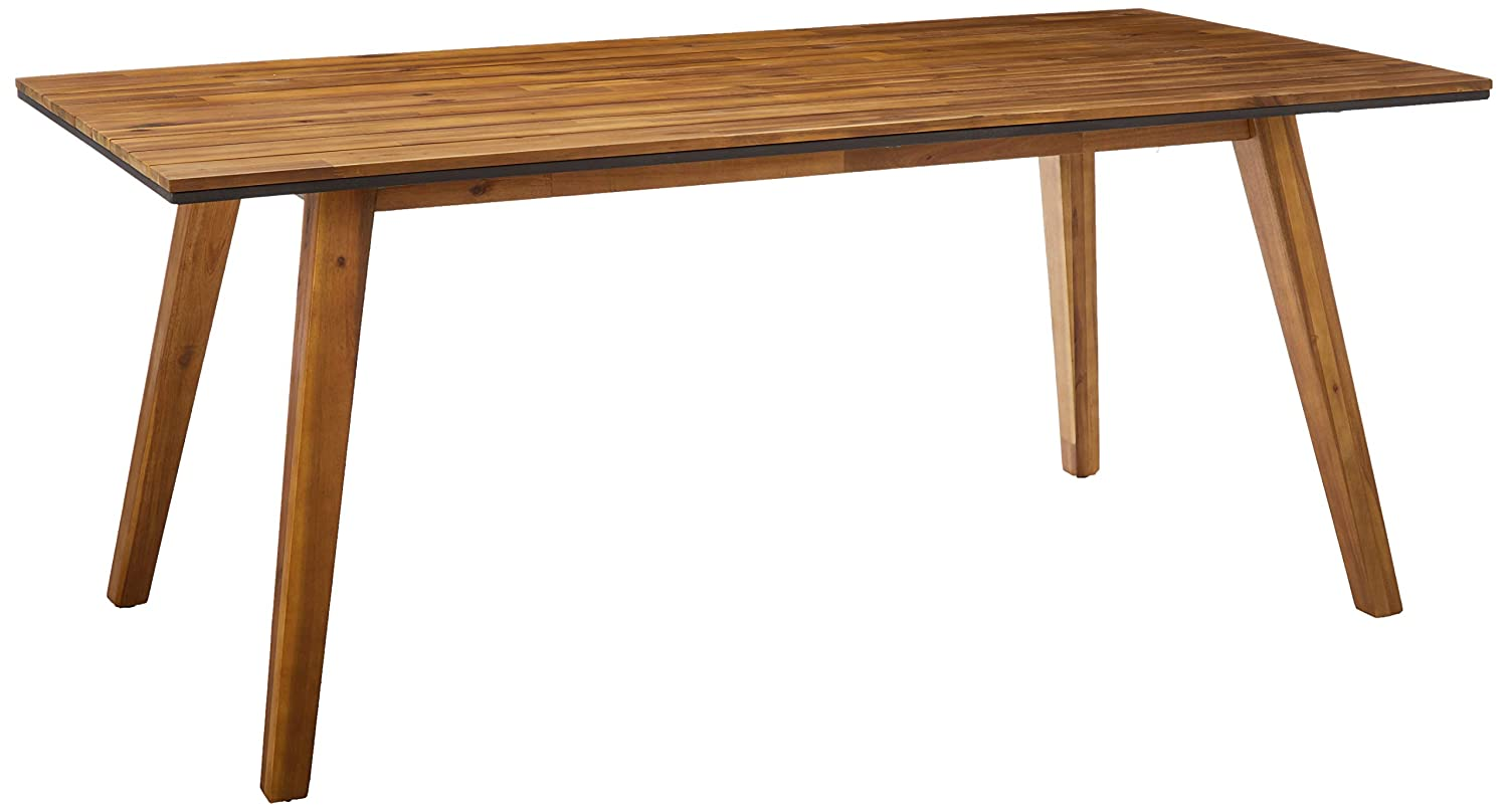 Christopher Knight Home Paul Outdoor 71 Acacia Wood Dining Table, Teak Finish, Rustic Metal
