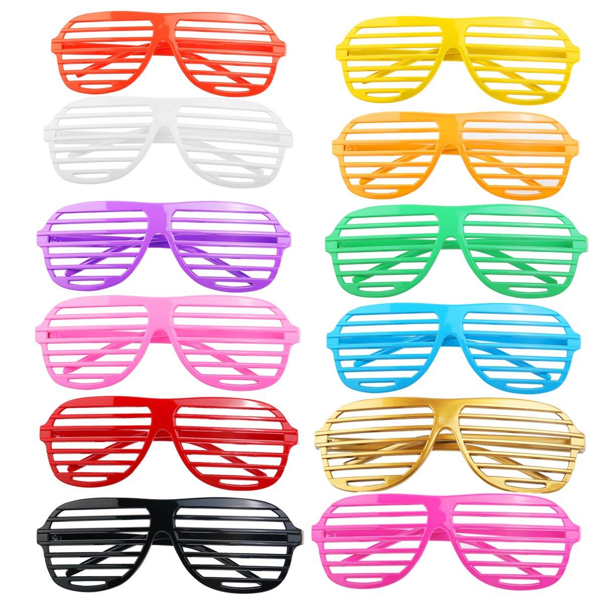 BESTOYARD 12Paires de Mode Obturateur Plastique Shades Lunettes de Soleil Eyewear Halloween Club fête Cosplay Props (Couleurs mélangées)