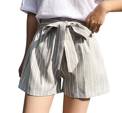 Yuanu Femme Été Taille Haute Bourgeon Pantalon Court Avec Ceinture ... 7f008108517