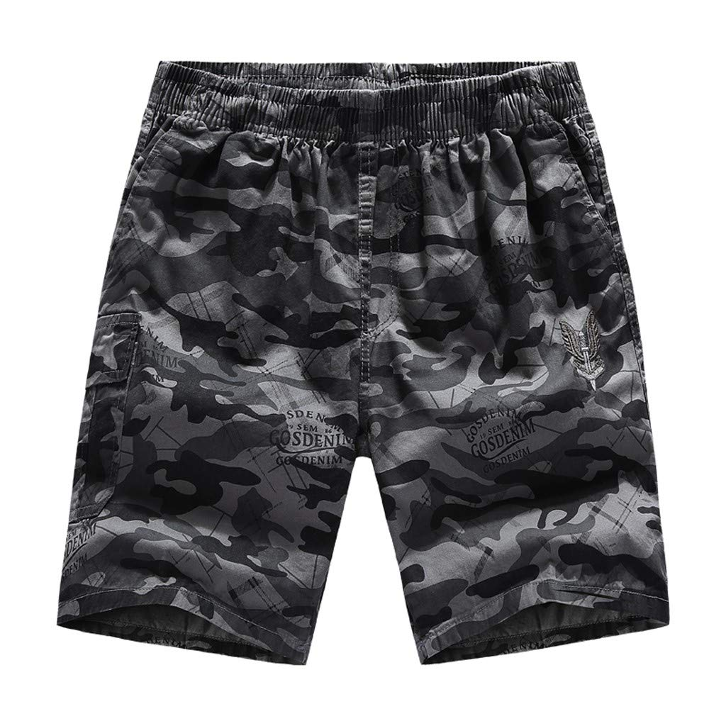 TOPUNDER Men Summer Camouflage Print Trunks Quick Dry Beach Surfing Running Short Pant