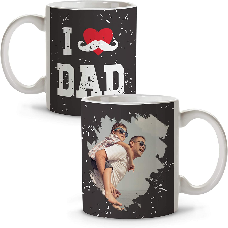 Taza Personalizada con Foto Papá. Regalos Personalizados Dia del Padre. Varios Diseños y Colores de Interior. Happy Dad