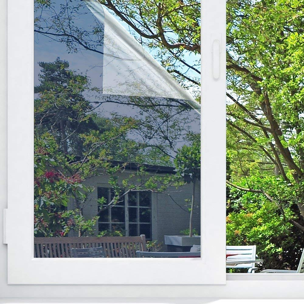 """2PCS Window Film One Way Mirror Film Privacy Mirror Adhesive Residential DIY Window Film Heat Control Glare Control Anti UV Window Tint for Home and Office 17.7/"""" x 78.7/"""""""