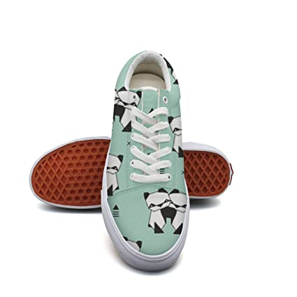 Animals Panda Geometric Triangle Style Women¡s Casual Sneakers Shoes Skateboard Athletic Low Top Original