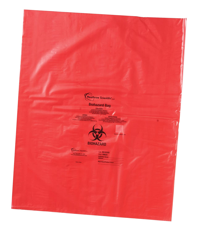 Heathrow Scientific HD10322 Biohazard Disposal Bag, Polypropylene, 483 mm Width Length x 584 mm Width, Red (Pack of 200) HS10322