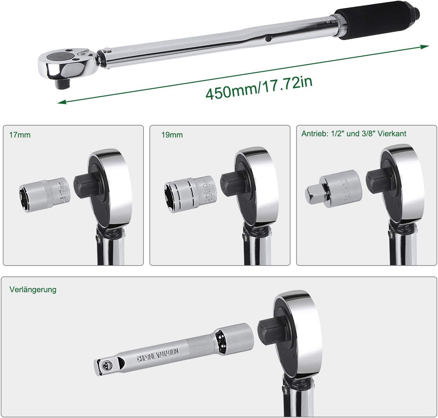 Cl/é Dynamom/étrique 1//2 pouce avec Rallonge 28-210 Nm 2,9-21,4M.KGS HOMCA Pr/écision /± 4/% avec et 2 douilles 17mm 19mm Cl/é Dynamom/étrique Incassable