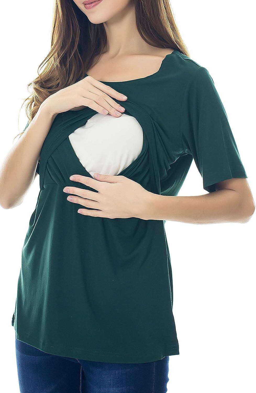 Smallshow Top per Allattamento a Maniche Corta da Donna Camicia Allattamento al Seno