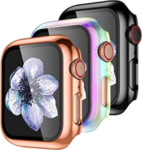 【3 Pack】 Easuny Hard Case Cover Design for Apple Watch Series 6 SE Series 5 4 40mm with Built-in Glass Screen Protector - Full Coverage Accessories for iWatch Women Men,Black Rose-Gold Colorful