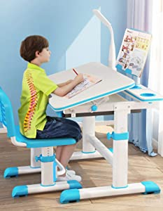 """ABORON 32""""X24"""" Student Study Desk Large Study Furniture Room Study Table for Children Desk Study Table and Chair Adjustable Height (Blue)"""