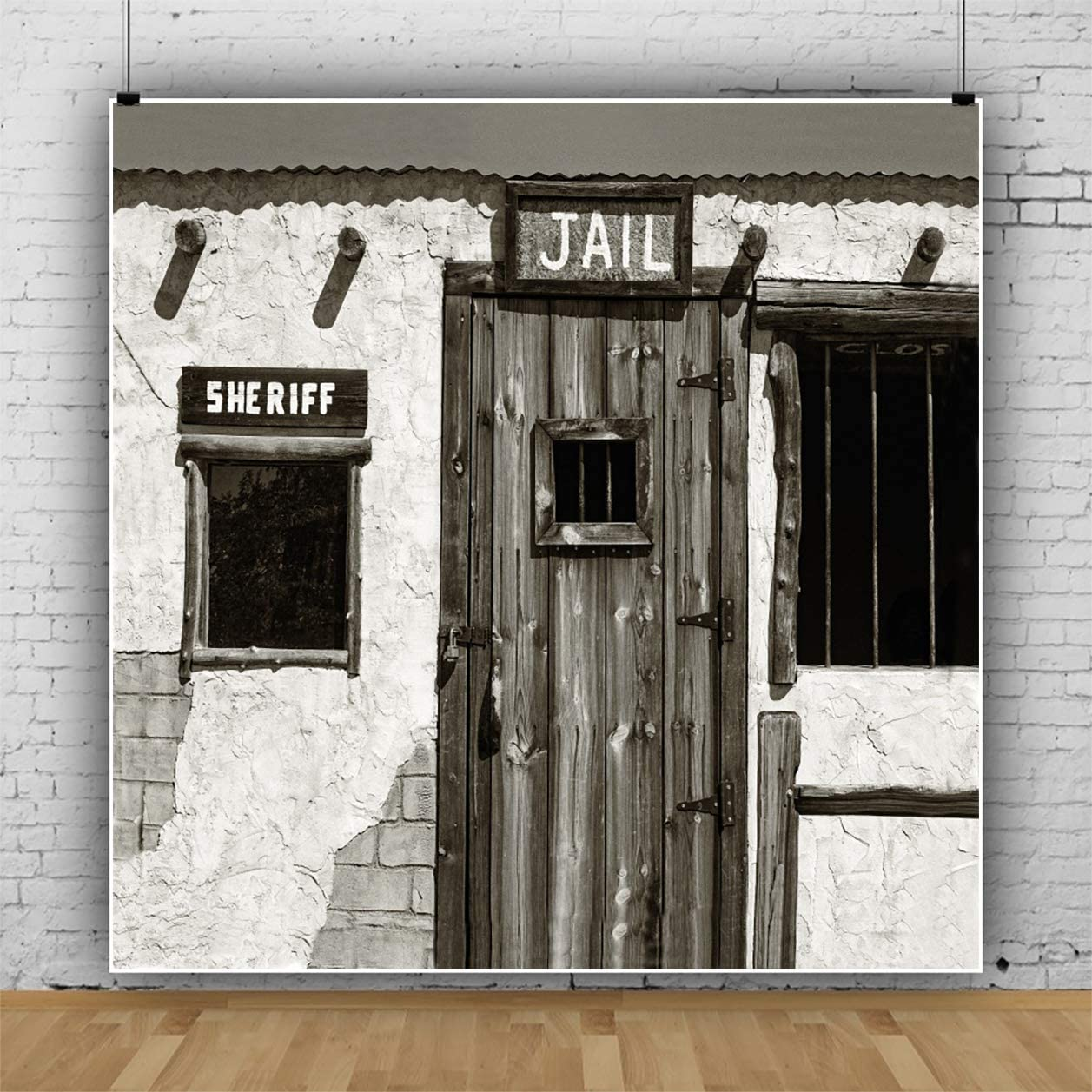YEELE Western Backdrop Jail and Sheriffs Office in an Old West Ghost Town Photography Background 9x9ft Wild West Events Party Decoration Photo Booth Banner Photoshoot Props Digital Wallpaper