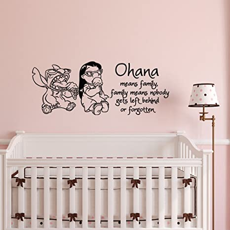 Ohana Means Family Vinyl Wall Decal Family Means Nobody Gets Left Behind or Forgotten Home Sticker Decor