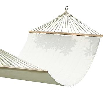 adeco cotton fabric canvas hammock with spreader bar tree hanging suspended outdoor indoor bed natural color amazon     adeco cotton fabric canvas hammock with spreader bar      rh   amazon