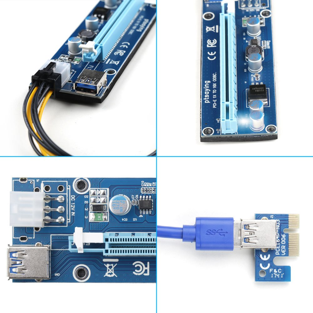 PCIe Riser Ptsaying PCI-E 16x 8x 4x 1x Powered Riser Adapter Card With LED hint w/ 60cm USB 3.0 Extension Cable & 6-Pin PCI-E to SATA Power Cable - GPU Riser Adapter - Ethereum Mining ETH(3 pack) by Ptsaying (Image #6)
