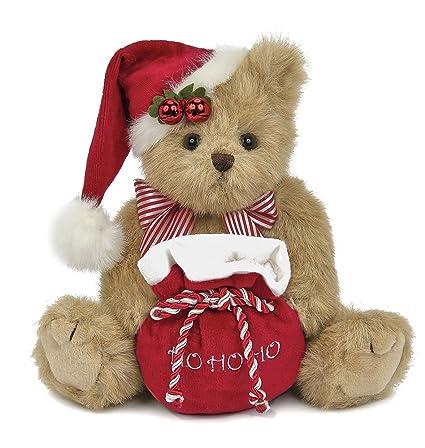Christmas Bear.Bearington Jolly Jingles Christmas Stuffed Animal Teddy Bear With Santa Hat 10 Inchs