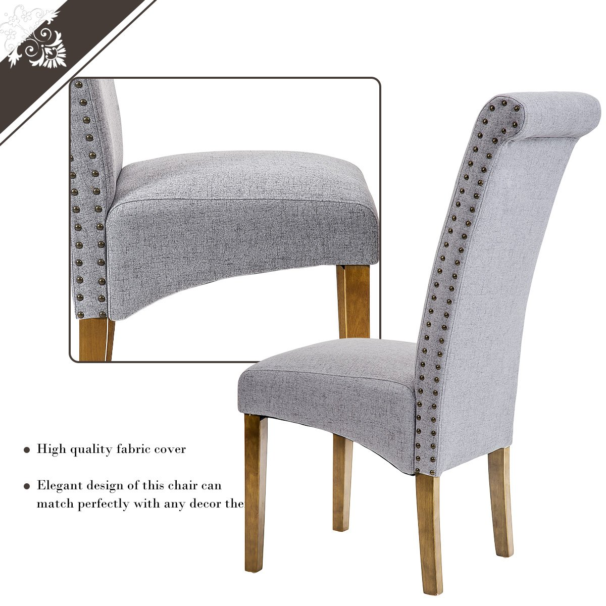Merax Dining Chairs Set of 2 Fabric Padded Side Chair with Solid Wood Legs, Nailed Trim(Grey) by Merax (Image #4)