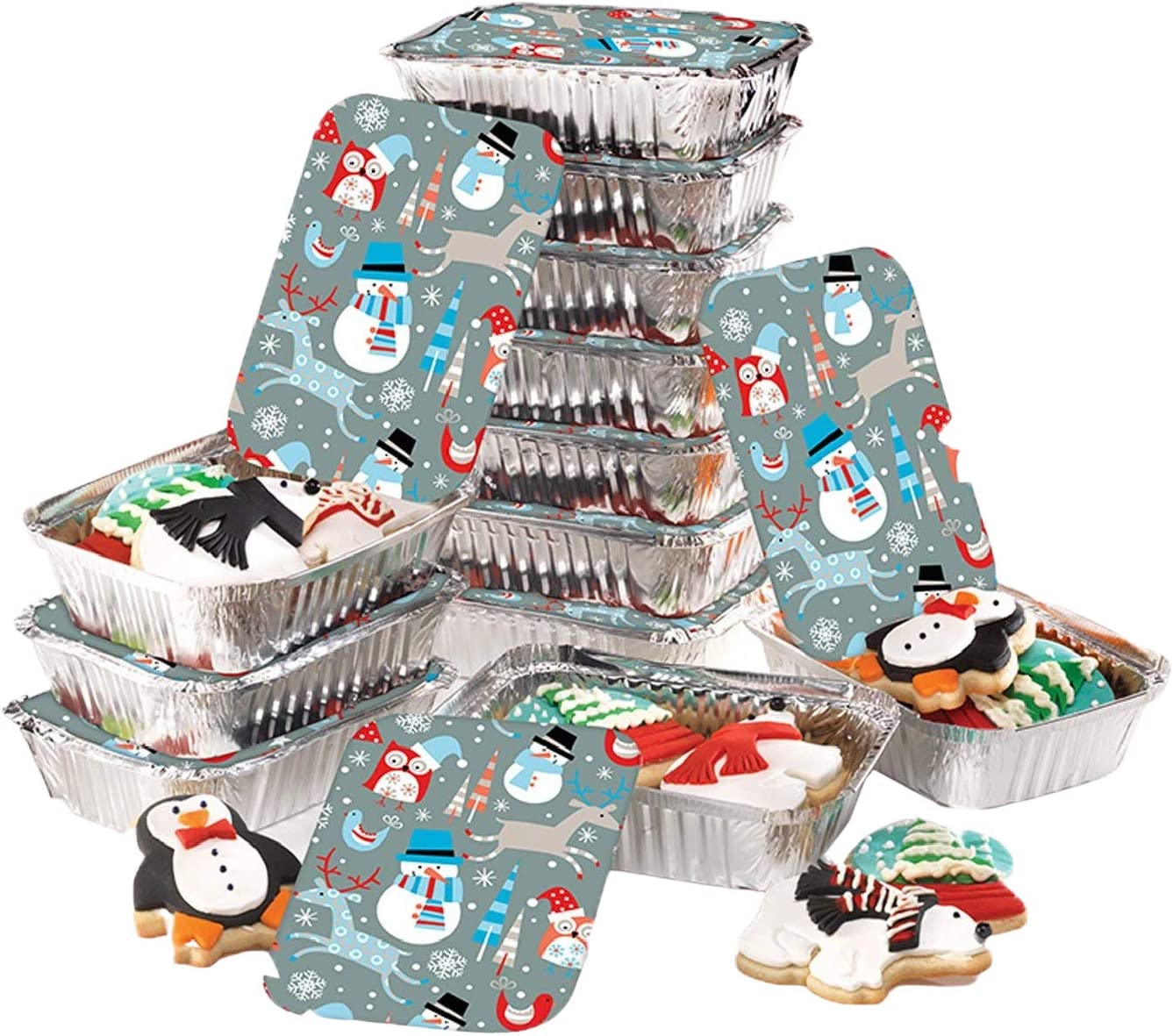 Gia's Kitchen Christmas Cookie Tins, 24 Piece, Set of 12 Foil Pans with Lids, Perfect Cookie Tins with Lids for Gift Giving- Winter Friends Foil Container Rectangular