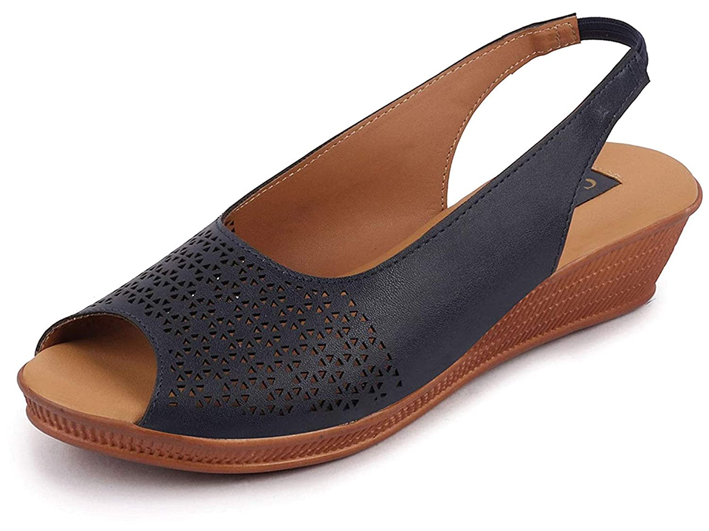 Peep Toe Wedge Heel Sandals