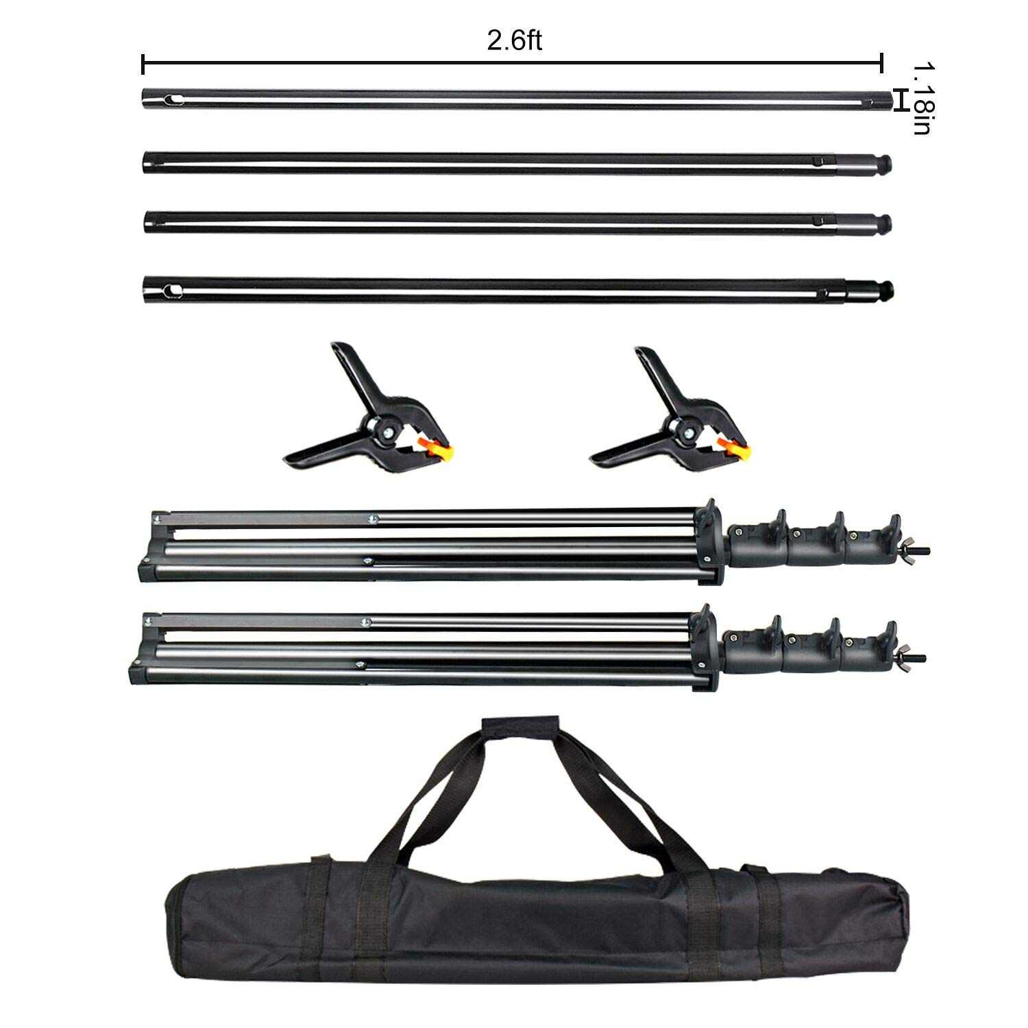 FUDESY Photo Video Studio 10 x 10Ft Heavy Duty Adjustable Backdrop Stand,Background Support System for Photography with Carry Bag,Two Pieces Spring Clamps