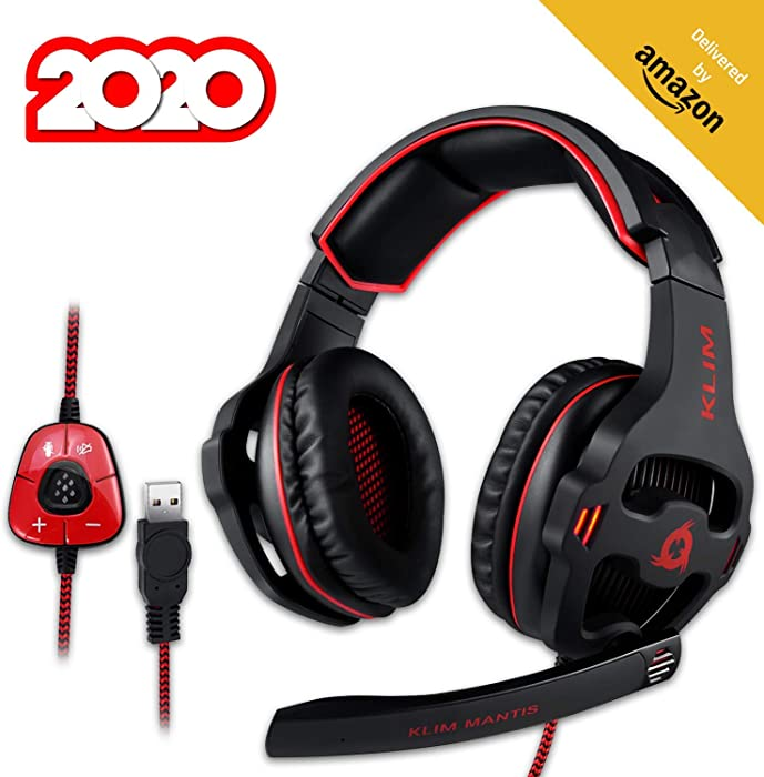 KLIM Mantis - Gaming Headphones - USB Headset with Microphone - for PC, PS4, Nintendo Switch, Mac, 7.1 Surround Sound - [ New 2020 Version ] - Noise Cancelling Gaming Headset