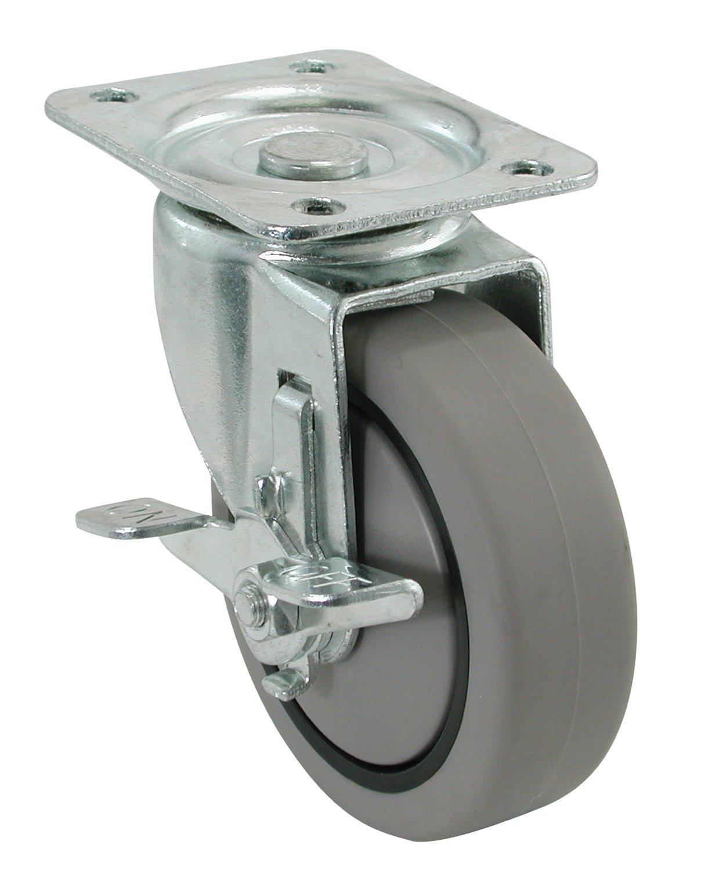250-lb Load Capacity Shepherd Hardware 9029 4-Inch Swivel Plate Caster Rubber Wheel on Polypropylene Hub