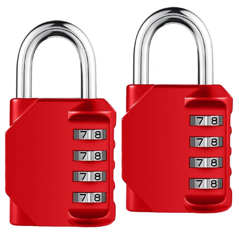 Combination Lock, 4 Digit Combination Padlock for Gun Case, Gym & Sports Locker, School, Employee, Case, Fence, Toolbox, Hasp Cabinet & Storage [2 Pack] (Red)