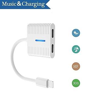 Auriculares dual 2 en 1 Aux Audio Cargador Adaptador Divisor Audio Adaptador de Carga Cargador Para iPhone X/7 Plus /8/8P Compatible con Todos los iOS ...