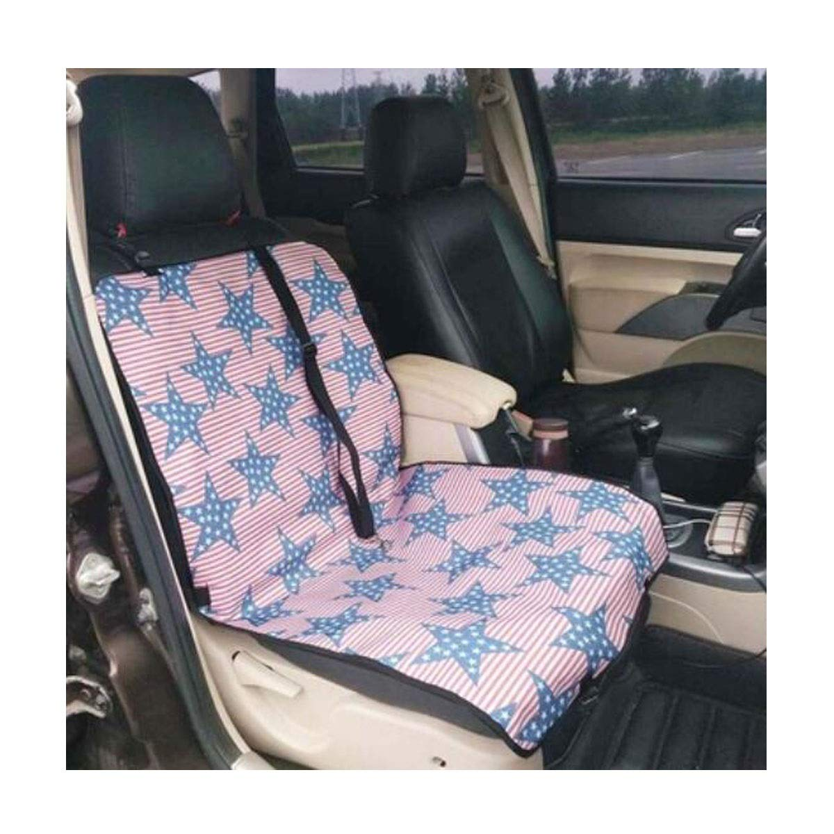 bluee star Dog Car Seat Cover, Dog Artifact Booster Seat Car Co-Pilot Anti-Dirty Safety Single Seat Cover Bed Non-Slip Waterproof, Brown, Camouflage (color   bluee Star)