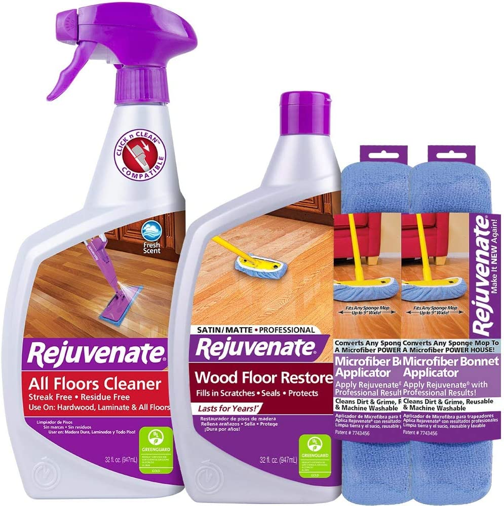 Rejuvenate Professional Wood Floor Restorer Satin Finish Non-Toxic Easy Mop On Application with Floor Cleaner and 2 Micro Fiber Mop Bonnets - 4 Piece Kit