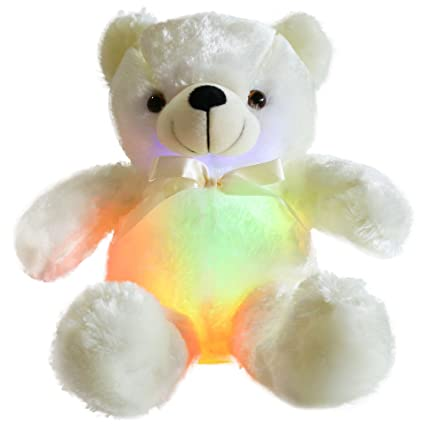 2c5e661d3 WEWILL Creative Light Up LED Inductive Teddy Bear Stuffed Animals Plush Toy  Colorful Glowing Teddy Bear Birthday for Kids, 20- Inch(White)