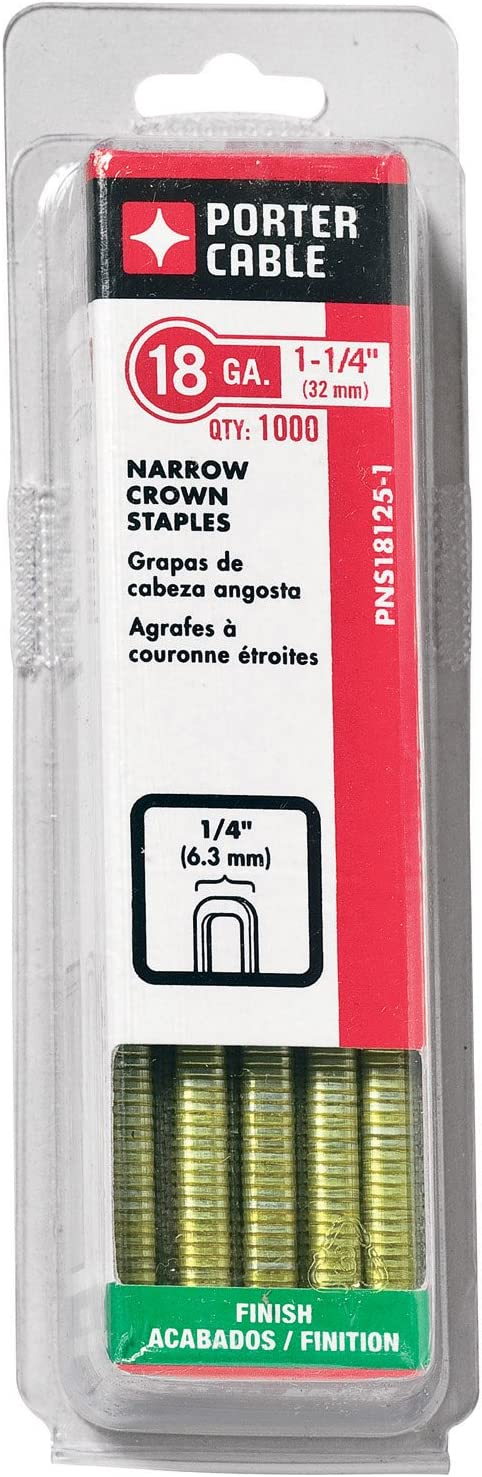 Staple 1000-Pack 1//4-Inch 18 Gauge Narrow Crown PORTER-CABLE PNS18125-1 1-1//4-Inch