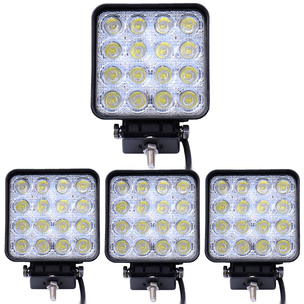Leetop 10x48W 16 LEDs Flutlicht LED Arbeitsscheinwerfer Au/ßenstrahler Offroad Lampe Zusatzscheinwerfer f/ür Jeep SUV 12-24V Schwarz Aluminium Druckguss IP67