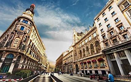 Amazon.com: CU.RONG City Madrid Spain Sky Clouds,Art Print ...
