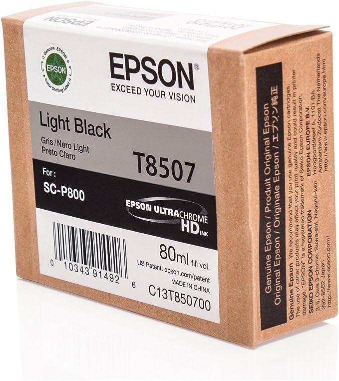 Epson Original C13t850700 T8507 Für Surecolor Sc P 800 Premium Drucker Patrone Schwarz Hell 80 Ml