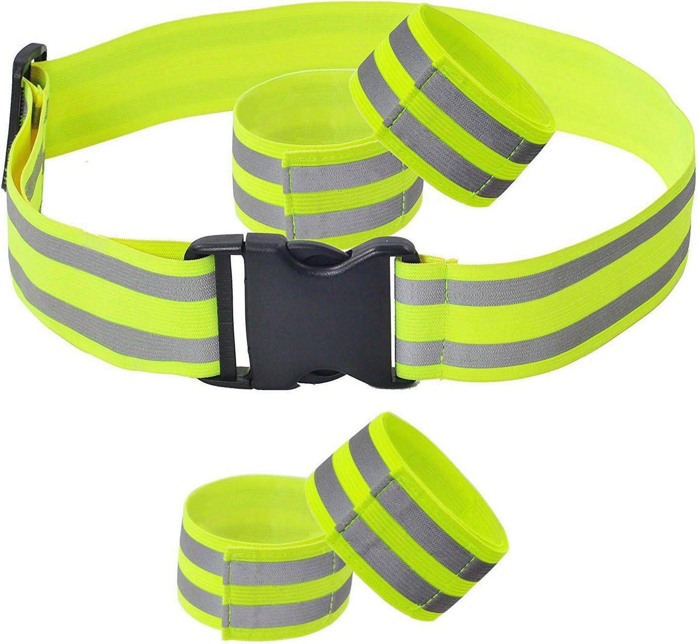 5pcs Ceinture R/éfl/échissante S/écurit/é Ensemble 4X Bracelet /Élastique et 1x Ceinture Extensible R/églable pour Jogging Sport Cyclisme Ext/érieur