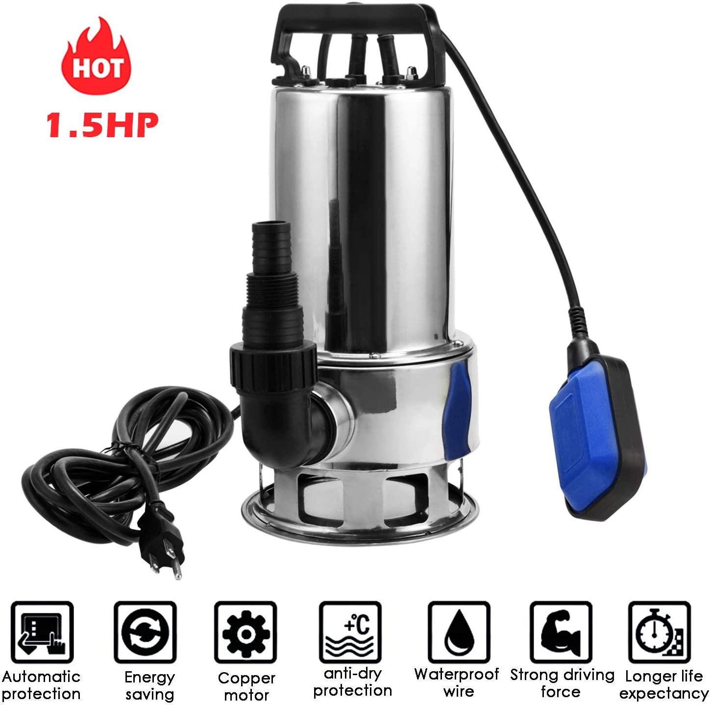 Homdox 1.5 HP Stainless Steel Submersible Sump Pump Dirty Clean Water Pump w/ 15ft Cable and Float Switch (1.5HP)