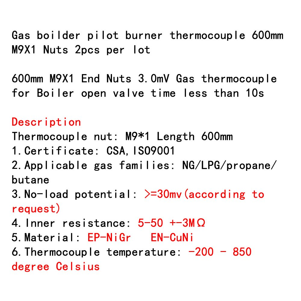 Packs de 2/pcs Terre /étoile gaz Boilder Pilot Br/ûleur thermocouple 0.6/metres M9/x 1//Écrous par lot