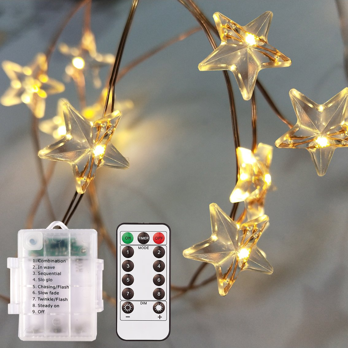 Outdoor Battery Operated String Lightsstar Shaped 8 Model Remote Garden Timer With Control Dimmable Waterproof 40 Leds14ft Rope Twinkling Fairy Lights For Bedroomgarden